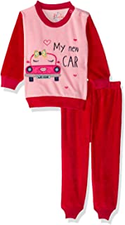 Jockey My New Car Embroidered Letters Long Sleeves Round Neck Sweatshirt with Pants Pajama Set for Girls - Pink and Red, 1...