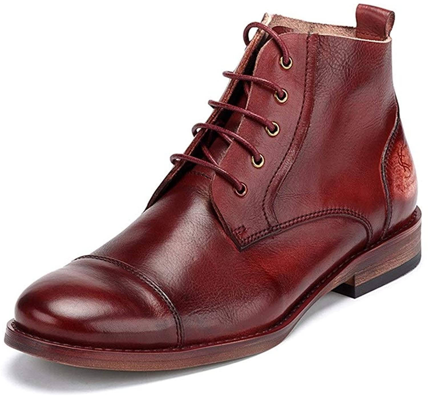 Handmade Autumn and Winter Men's Leather shoes Leather high with lace British Men's Martin Boots Men's Casual Leather Boots Tide shoes Oxfords shoes (color   Red, Size   8UK)
