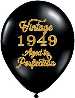 Vintage 1949 Black Balloons - 70th Birthday Balloons - Set of 3-70th Birthday Party Balloons Black and Gold
