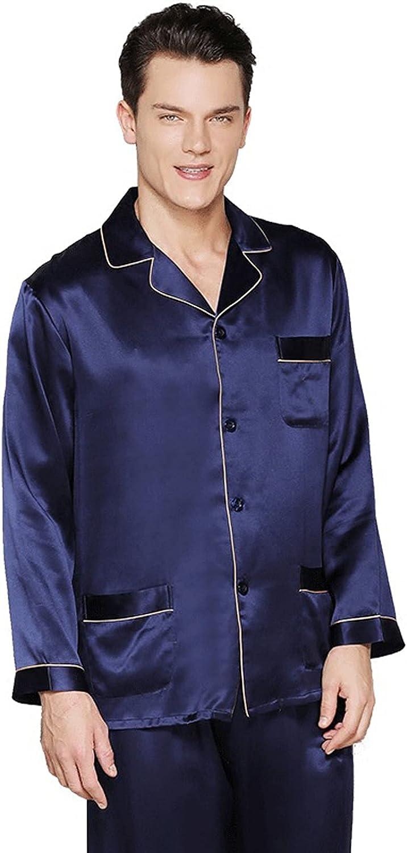 ML S HJDY Men's Silk Long Weekly 5 popular update Pajamas Pieces 2 100% Sleeve Set