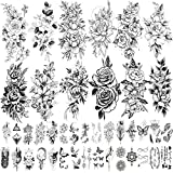 Zomme 42 Sheets 3D Flowers Temporary Tattoos...