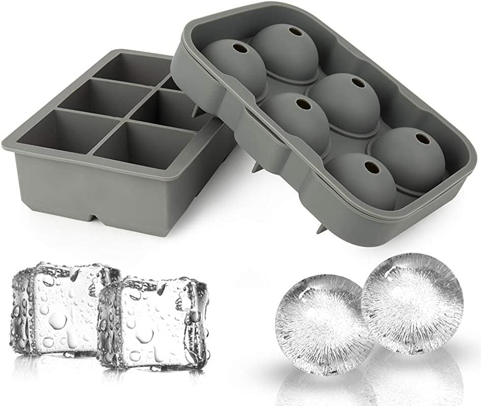 Ticent Ice Cube Trays Sphere Ice Molds Set Of 2 Silicone Ice Ball Maker With Lid Large Square Molds For Whiskey Cocktail Brandy Grey