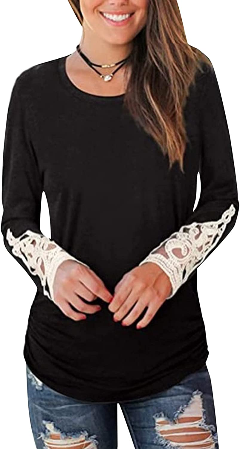 College Sweatshirts for Women, Women's Casual Solid Crewneck Long Sleeve Sweatshirt Loose Lace Pullover Tops