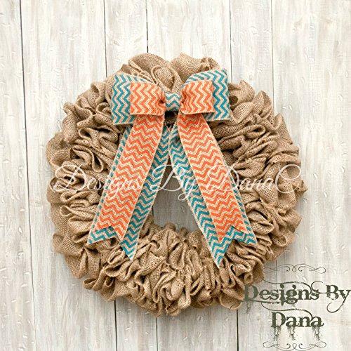 "Burlap wreaths for front door, Decorative wreaths for all year long, 19"" burlap wreath, Door wreath for all occasions"