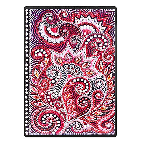 DIY Diamond Painting Cover Notebook Writing Note Planner Mandala Red Special Shaped Diary Book 100 Pages/50 Sheets A5 Plain/Blank Book for Travel