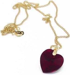 Cuore collana oro 14k riempito oro Swarovski rosso scarlatto rosa pesca arancione taupe regali natale compleanno gioiello ...