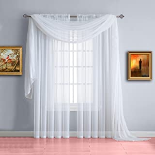 Warm Home Designs Pair of Extra Short Length White Sheer Window Curtains. Each Voile Drape is 56 X 40 Inches in Size. Great for Living or Kids Room. 2 Fabric Valance Panels Included. Color: White 40