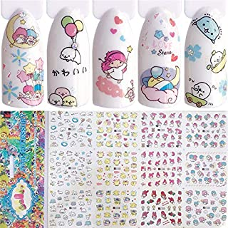 4 Sheets Cartoon Water Slide Nail Art Decals Water Transfer Nail Decals Sticker For Pretty Girl