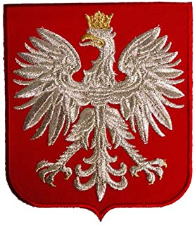 VEGASBEE POLAND EAGLE POLSKA COAT OF ARMS POLISH CREST RED SHIELD SILVER METALLIC EMBROIDERED PATCH