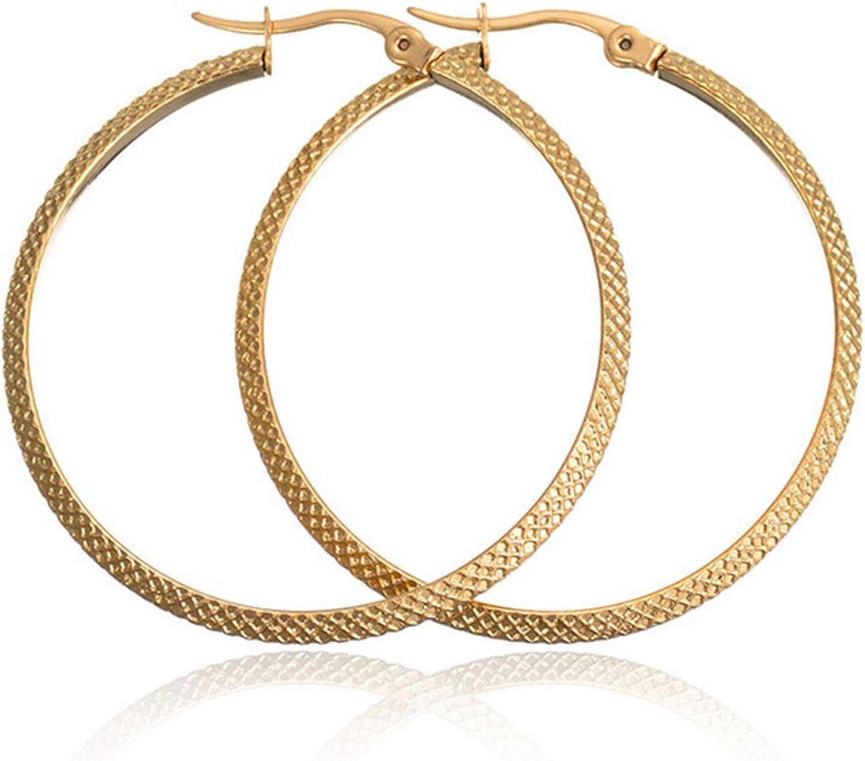 Houpotao Grid Hoop Earrings Gold Premium Surgical Titanium Steel Lightweight Hypoallergenic Gold Hoop Jewelry Diametre60mm