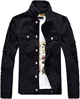 DSDZ Men`s Classic Ripped Hip Hop Motorcycle Denim Jacket