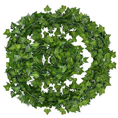 12 unids 2M Ivy Artificial Ivy Green Hoja Guirnalda Plantas Vid Folleto Follaje Hogar Decoración Plastic Rattan String Wall Decoración Artificial Planta