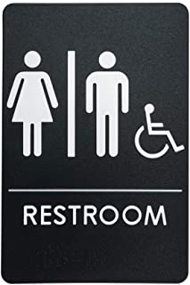 Men's and Women's Restroom Sign for Handicap Accessible Restroom, ADA-Compliant Bathroom Door Sign, Made in USA