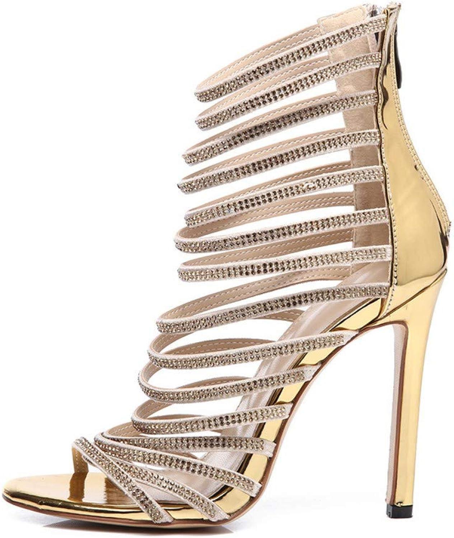 JQfashion Women's High-Heeled Sandals Diamond Hollow Sexy Roman shoes Tip Fine Heel