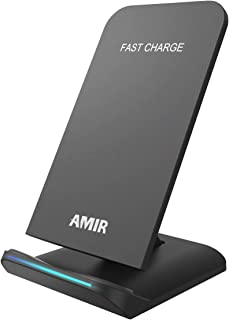 AMIR Fast Wireless Charger Stand, Qi-Certified Wireless Charging Pad,Ultra-Slim Updated Version, Compatible iPhone X, S MA...