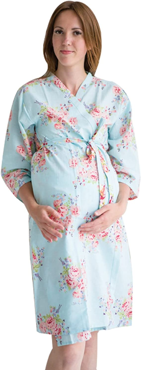 Labor gown Delivery gown nursing mothers,Pregnancy robe Light Blue Silk Large Floral Ankle length Maternity Robe Hospital Gown