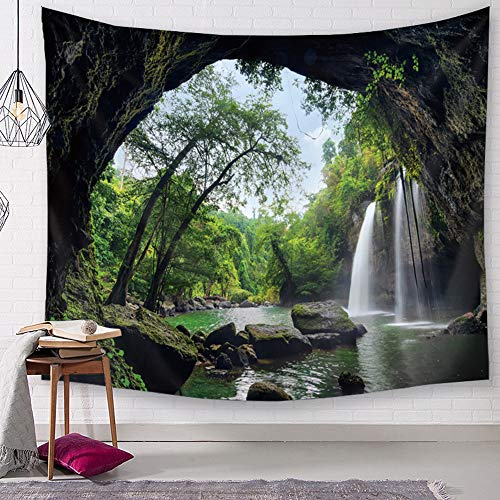 TSDA Waterfall Wall Tapestry Green Jungle Wall Hanging Tropical Forest 3D Mountain Tree Nature Landscape Tapestry (Small-59 x 51 In)