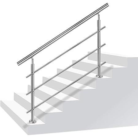 MCTECH/® Gel/änder Edelstahl Handlauf Treppengel/änder Wandhandlauf Wandhalter 200cm f/ür drinnen und drau/ßen Treppen Balkon Br/üstung