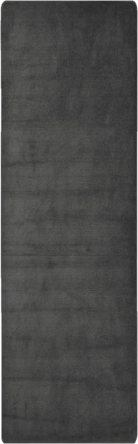RugStylesOnline Comfy Solid color Runner Area Rug 26 Inch Wide x Your Choice Length More color Options Available Slip Skid Resistant Rubber Back (Dark Grey, 2'2  x10')