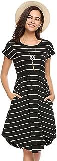 Women's Summer Casual Stripe Elastic Waist Loose Beach Midi Dress