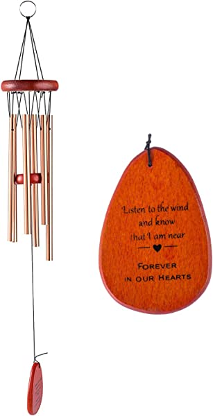 Memorial Wind Chimes Personalized Outdoor Sympathy Wind Chimes Gift Keepsake For Deceased Loved Aluminum Tubes Wooden Wind Bell For Garden Patio Deco 24 5 Inch