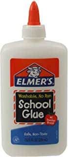 Elmer's Washable No-Run School Glue, 7.625 oz, 1 Bottle (E308) - 2 Pack