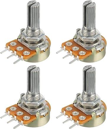 uxcell WH148 可变电阻器单转旋转碳膜锥度电压计 100K-5pcs a18072600ux0035