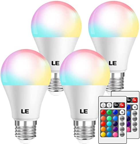 LE RGB Color Changing Light Bulbs with Remote, Dimmable LED Light Bulb, E26 Screw Base, 40 Watt Equivalent Soft Warm ...