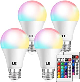 LE RGB Color Changing Light Bulbs with Remote, Dimmable LED Light Bulb, E26 Screw Base, 40 Watt Equivalent Soft Warm White, 16 Color Choices for Home Décor, Bedroom, Stage, Party and More, Pack of 4
