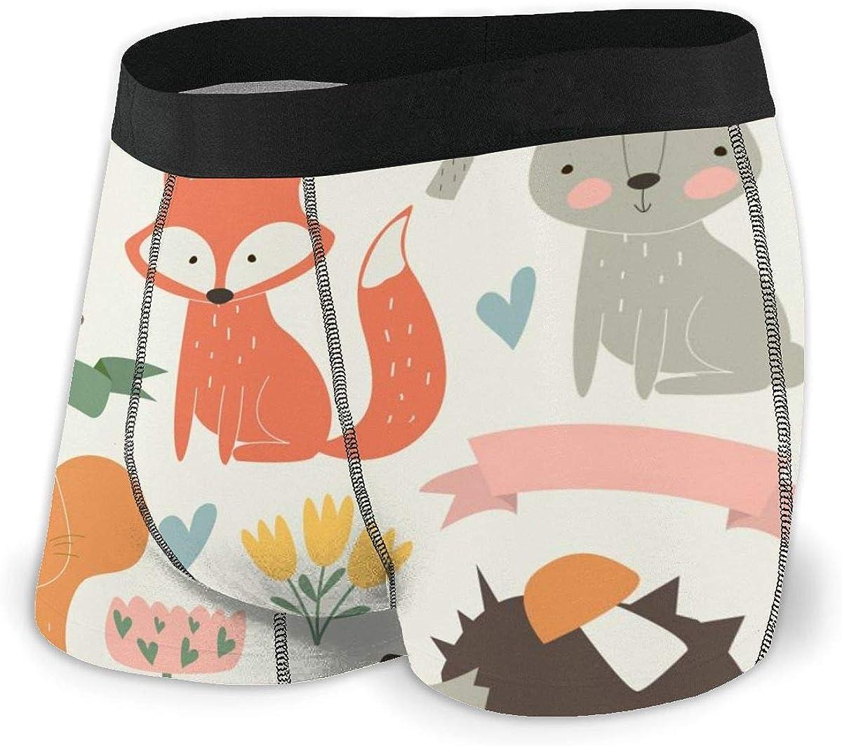Mens Boxer Briefs Cute Hedgehog, Birds, Bear, Fox, Hare, Butterflies Breathable Underwear