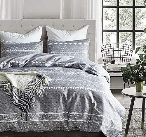 Loussiesd Geometric Bettbezug Set 220x240 Bohemia Bettwäsche Grau Weiß Moderne gestreifte Bettwäsche Einfache weiche, atmungsaktive Tagesdecke mit Kissenbezug 80x80x2