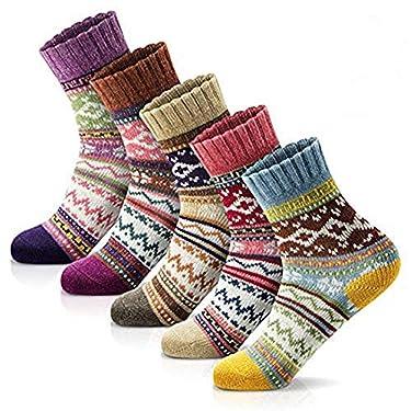 5 pares de calcetines de lana gruesa de invierno para mujer, suaves, cálidos, informales, estilo vintage, talla única