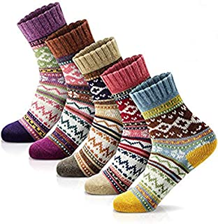 Women's Winter Socks 5 Pairs Thick Wool Soft Warm Casual...