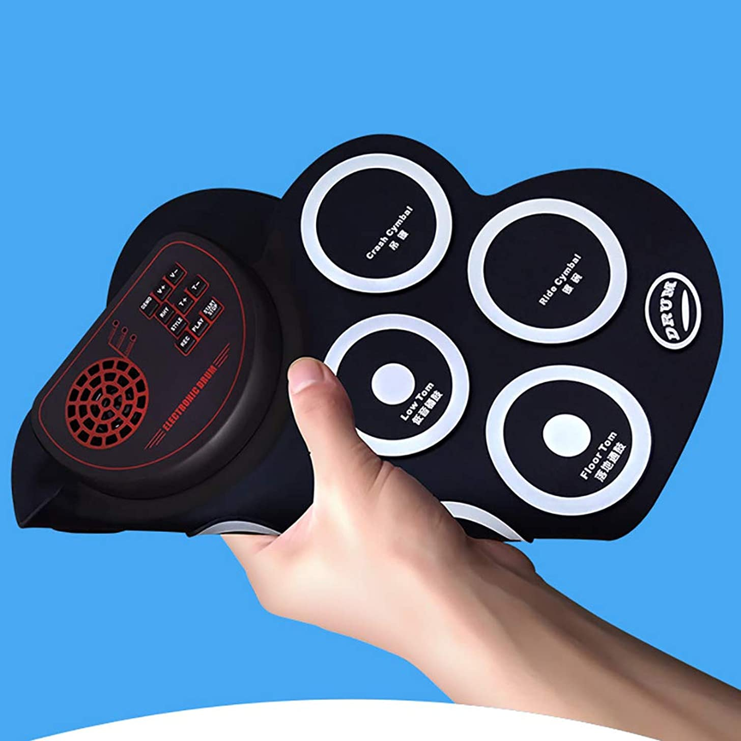 NUYI Hand Roll Electronic Drum with Bass Speaker Rechargeable Student Children Practice