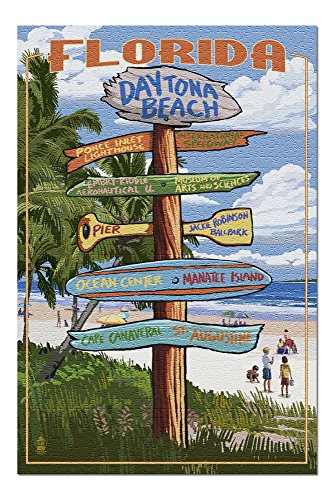 Daytona Beach, Florida - Destinations Sign 44572 (19x27 Premium 1000 Piece Jigsaw Puzzle for Adults, Made in USA!)
