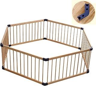 XHJYWL Playpen Baby Foldable Wooden Frame with Door, Kids Play Center Yard Indoor & Outdoor 6 Panel (Size : Diagonal 180cm)