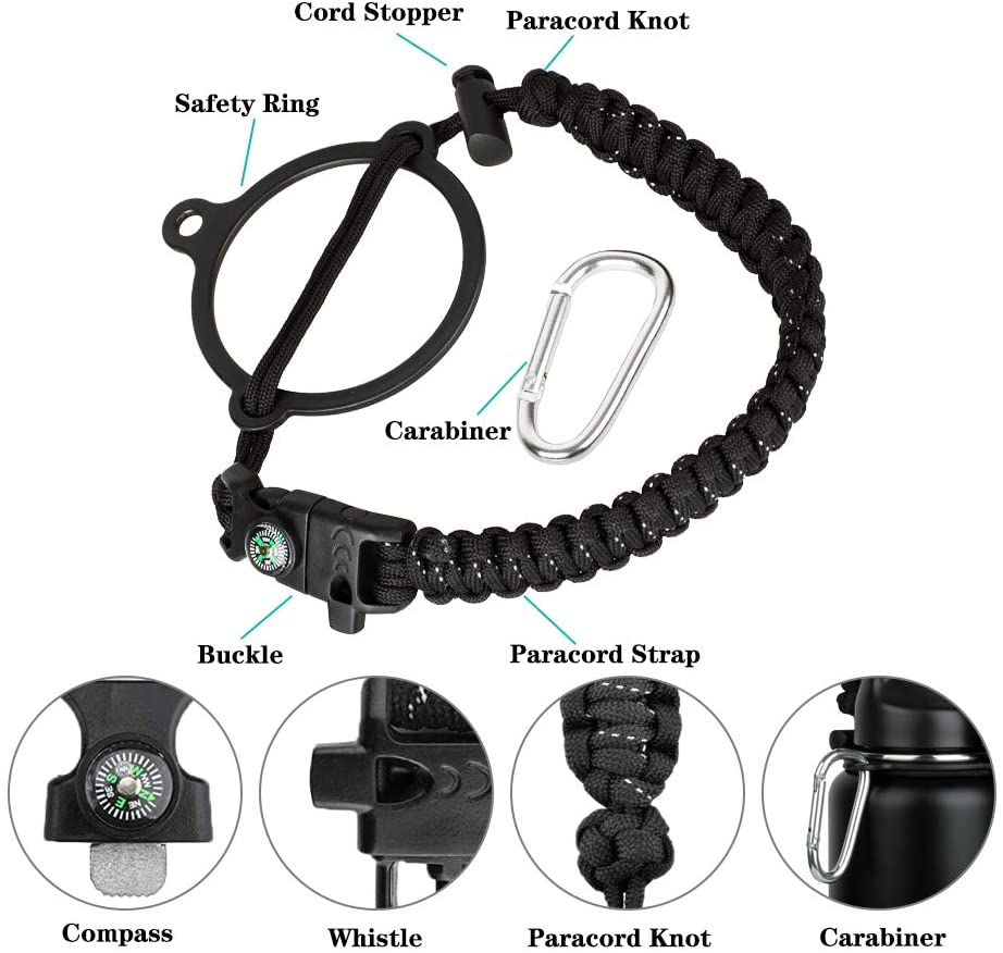 WEREWOLVES Paracord Handle - Fits Wide Mouth Bottles 12oz to 64oz - Durable Carrier, Paracord Carrier Strap Cord with Safety Ring,Compass and Carabiner - Ideal Water Bottle Handle Strap (Rainbow) : Sports & Outdoors
