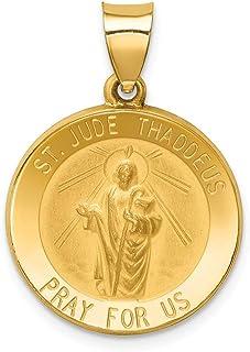 14k Yellow Gold St Jude Thaddeus Medal Pendant Charm Necklace Religious Patron Saint Fine Jewelry For Women