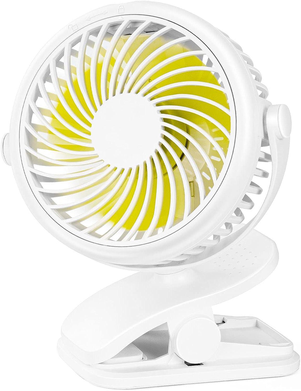 Stroller Fan Clip On Fan, Rechargeable/Battery Operated,4 Inch USB Desk Fan,Cooling Fan with 3 Speed,360° Rotate Multifunction fan,Strong Hold Portable Fan for Office,Treadmill,Baby strollers, etc