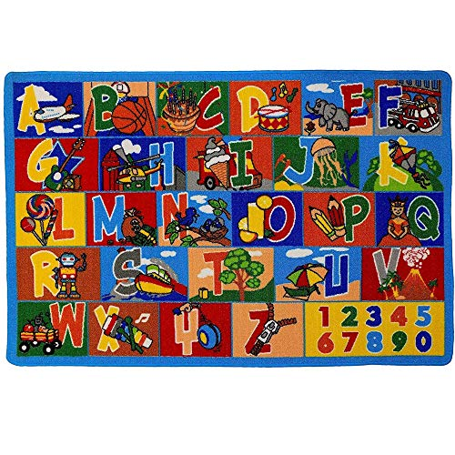 """Mybecca Kids Rug ABC1-Numbers 3' x 5' Children's Area Toddler Rug - Non Skid Gel Backing (39"""" x 56"""")"""