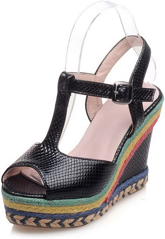 WeiPoot Women's Soft Material Buckle Peep-Toe High-Heels Solid Sandals