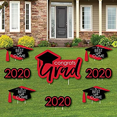 Big Dot of Happiness Red Grad - Best is Yet to Come - Yard Sign and Outdoor Lawn Decorations - Red 2020 Graduation Party Yard Signs - Set of 8