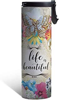 Tree-Free Greetings Life is Beautiful Butterfly Floral Vacuum Insulated Travel Coffee Tumbler, 17 Ounce Stainless Steel Mug, Inspirational Gift (BT21958)