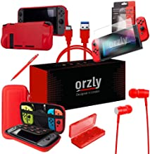 Switch Accessories, Orzly Essentials Pack for Nintendo Switch (Bundle Includes: Glass Screen Protectors, USB Charging Cable, Console Pouch, Cartridge Case, Comfort Grip Case, Headphones) - RED