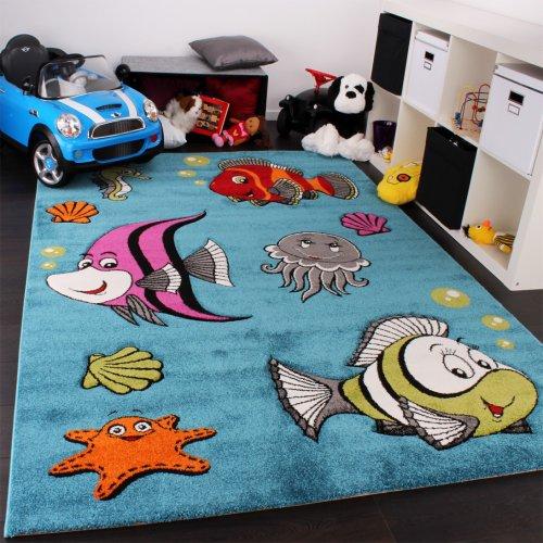 Paco Home Kinderteppich Clown Fisch Unterwasserwelt Design Türkis Blau Grün Creme Pink, Grösse:160x230 cm
