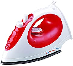 Bajaj MX-15 1200W Steam Iron with Steam Burst, Vertical and Horizontal Ironing, Non-Stick Coated Soleplate, White and Red