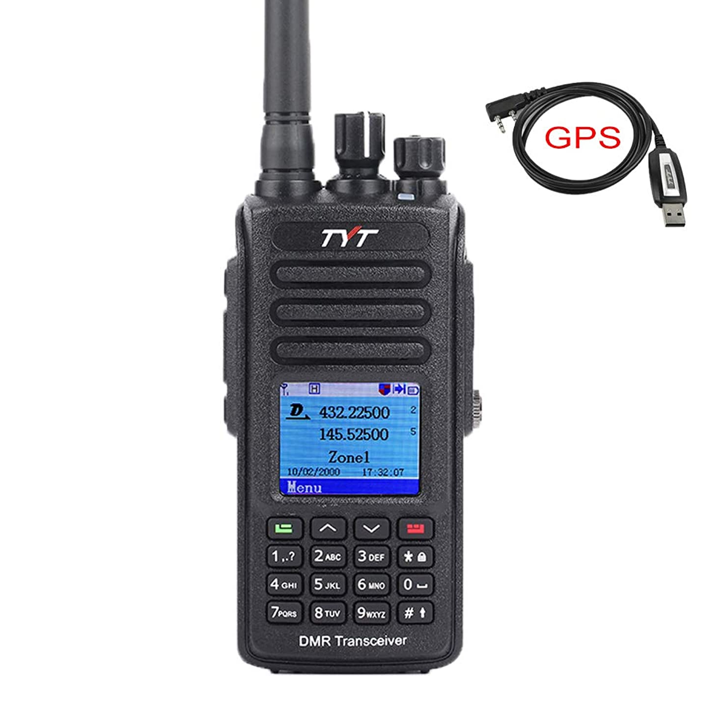 TYT MD-UV390 Dual Band 136-174MHz/400-480MHz GPS Handheld Two Way Radio VHF/UHF Ham Amateur