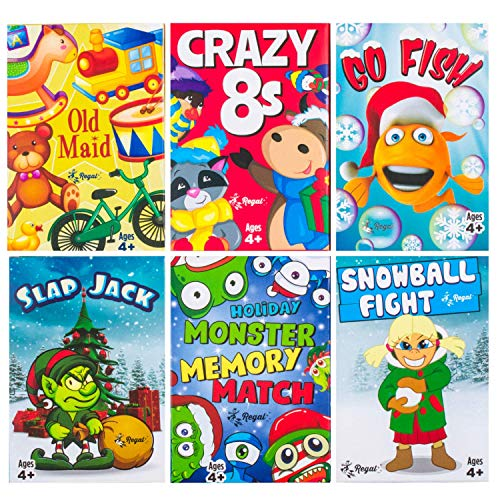 Regal Games Holiday Kids Card Games Edition Including Old Maid Go Fish Slapjack Crazy 8#039s Snowball Fight Holiday Monster Memory Match
