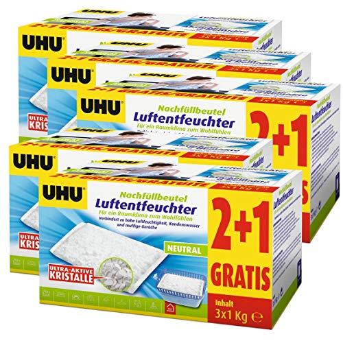 UHU Original Luftentfeuchter Nachfüllbeutel 3x1000g Neutral - Verhindert Kondenswasser, Feuchtigkeit und muffige Gerüche (5er Pack)