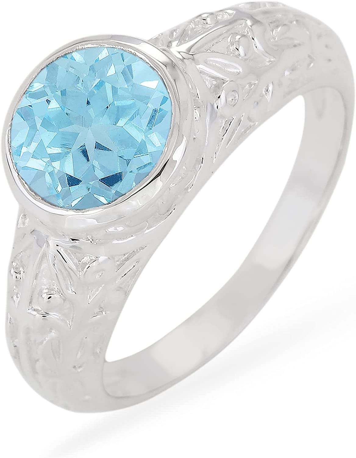 ATELIER PINKCITY Bezel Max 80% OFF Set Round Gemstone Rin Solitaire Cheap super special price Engraved